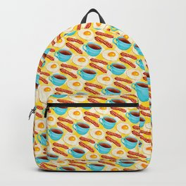 Coffee, Bacon & Eggs Pattern - Yellow Check Backpack