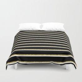 Black Gold White Stripe Pattern 2 Duvet Cover