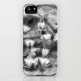 Water Lilys Monochrome Art iPhone Case