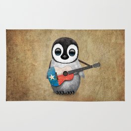 Baby Penguin Playing Texas Flag Guitar Rug