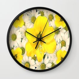 DECORATIVE YELLOW AMARYLLIS WHITE DAISIES FLORAL Wall Clock