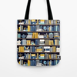 Book Case Pattern - Blue Yellow Tote Bag