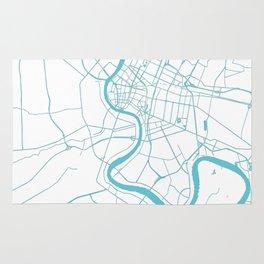 Bangkok Thailand Minimal Street Map - Turquoise and White II Rug