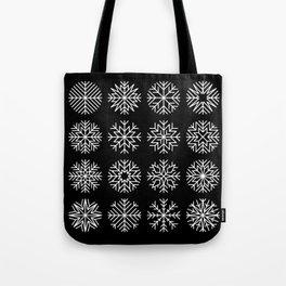 minimalist snow flakes on black Tote Bag