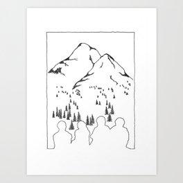 Border Line Friends Art Print