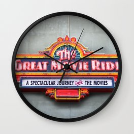 Original Art Photograph Great Movie Ride Neon Marquee Sign GMR Wall Clock