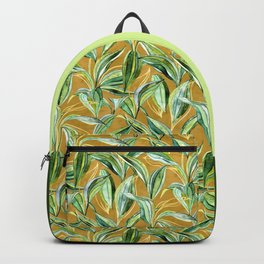 Leaves + Lines in Gold, Tan and Green Backpack