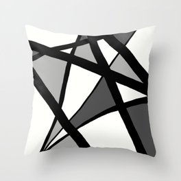 Geometric Line Abstract - Black Gray White Throw Pillow