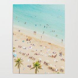Waikiki beach in Hawaiian summer. Poster