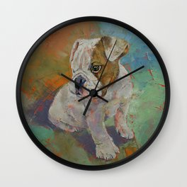 Bulldog Puppy Wall Clock