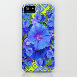 Lime-Blue Morning Glories Pattern Art iPhone Case