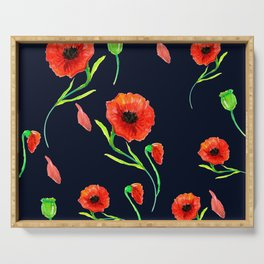 Red Poppies Field Serving Tray