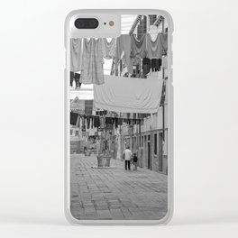 Kid and Grandma in street black white  Venice italy Clear iPhone Case