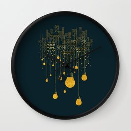 Light Bulb City skyline Wall Clock