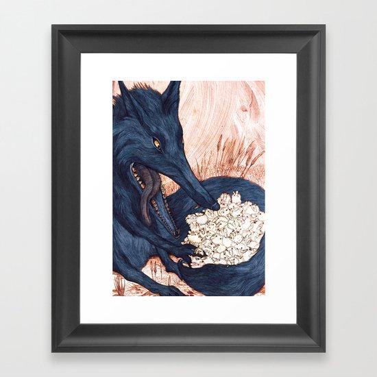 Une Faim de Loup (The Black Wolf) Framed Art Print