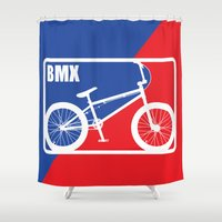 nba Shower Curtains featuring BMX by Wyatt Design