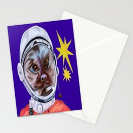 Monkey (Pygmy Marmoset) in the Space Stationery Cards