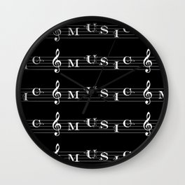 Invert music typography Wall Clock