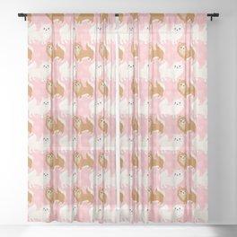 Cute Pomeranian Pattern Sheer Curtain