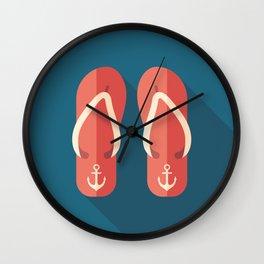 Red Beach Flip Flops Wall Clock