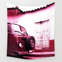 vw bus Wall Tapestries featuring VW Bus 17B by Julia Aufschnaiter