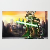 jedi Area & Throw Rugs featuring Gerbil Jedi by Wesley S Abney
