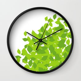Composition with fresh green spring leaves- earth day gift Wall Clock
