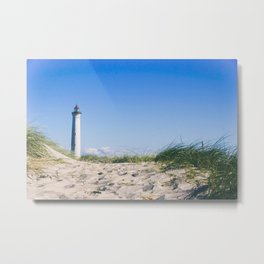 Nantucket Beach Lighthouse Metal Print