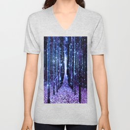 Magical Forest Turquoise Purple Unisex V-Neck