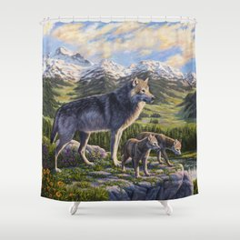 Mother Gray Wolf and Pups River Valley Shower Curtain