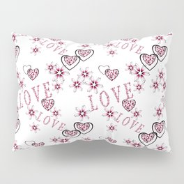 Openwork pattern with hearts. Pillow Sham