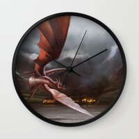 smaug Wall Clocks featuring Smaug Burns Lake-Town by Andy Fairhurst Art