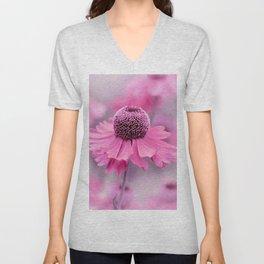 Pink flower macro 066 Unisex V-Neck