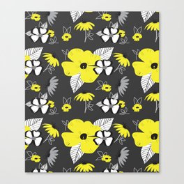 Yellow and Black Drawn Flowers on Gray Canvas Print