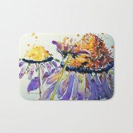 Poppin Purple Echinacea watercolor by CheyAnne Sexton Bath Mat