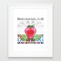 strawberry Framed Art Prints featuring Strawberry by Ornaart