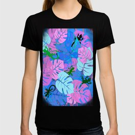 Monstera and Lizards in Blue T-shirt