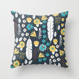 Butterflies and feathers Throw Pillow