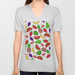 Tutti Fruity Hand Drawn Summer Mixed Fruit Unisex V-Neck