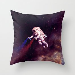 """Shooting Stars"" - Astronaut Artist Throw Pillow"