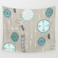 native american Wall Tapestries featuring Native American Beadwork - turquoise by Nouveau Bohemian