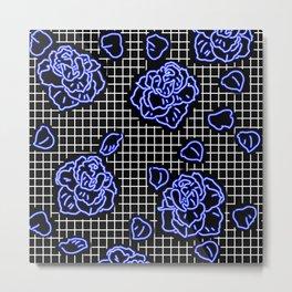 Rose Blue Neon Metal Print