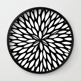 White Leaves Wall Clock