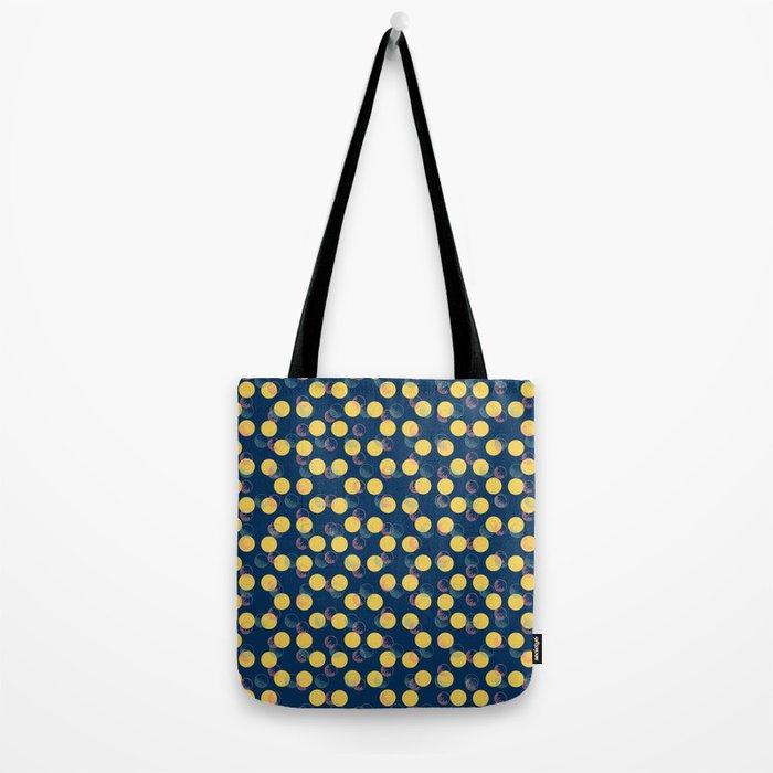 Yellow Polka Dots And Scribbles Tote Bag