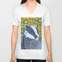 badger V-neck T-shirts featuring Badger Badger Badger by Lorraine Stylianou