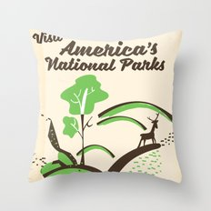 Visit America's National Parks vintage poster Throw Pillow