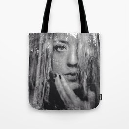 See Yourself - surreal dreamy portrait, woman nature photo, trees forest nature portrait Tote Bag