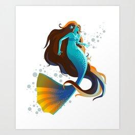 colorful mermaid swimming Art Print