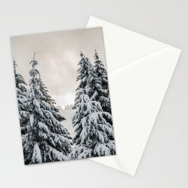 Winter Woods II - Snow Capped Forest Adventure Nature Photography Stationery Cards