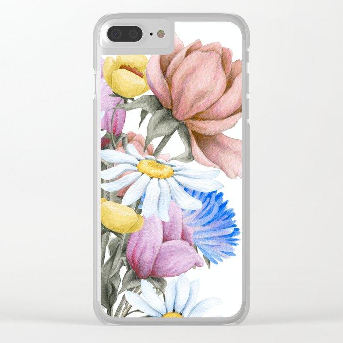 Summer Floral Watercolour Bouquet Clear iPhone Case